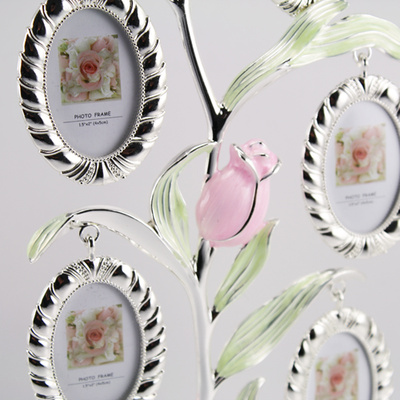 Tree photo frame new 2014-zinc alloy plating family tree photo frames 5 coloured tree photo frame