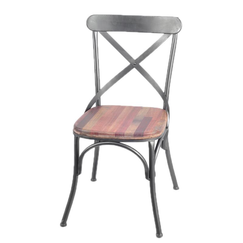 法国复古工业风格设计拼接红木铁艺经典靠背椅复古做旧家具