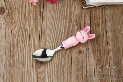 Fine rabbit handle stainless steel spoon spoon spoon cartoon tableware