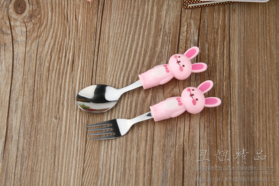The small white rabbit boutique handle spoon spoon spoon fork two piece stainless steel tableware two sets of cartoon
