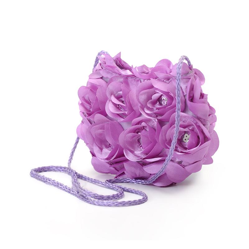 紫色玫瑰花时尚女士工艺单肩手提包