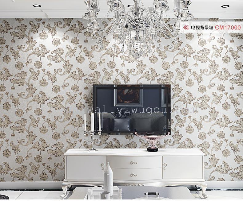 热卖奢华级无纺布欧式墙壁纸 臻贵重工天蚕丝墙壁纸