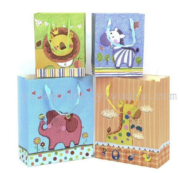 新款韩版 时尚卡通小动物礼品袋 竖版纸袋生日礼物袋
