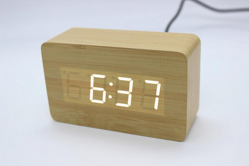 led迷你长方体款木头钟 学生闹钟 床头静音电子钟 礼品钟