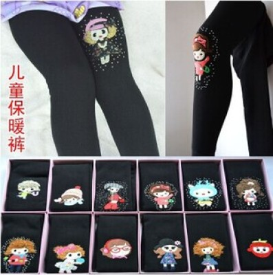 Thickened and cashmere Leggings for children children one garment seamless toe children warm pants