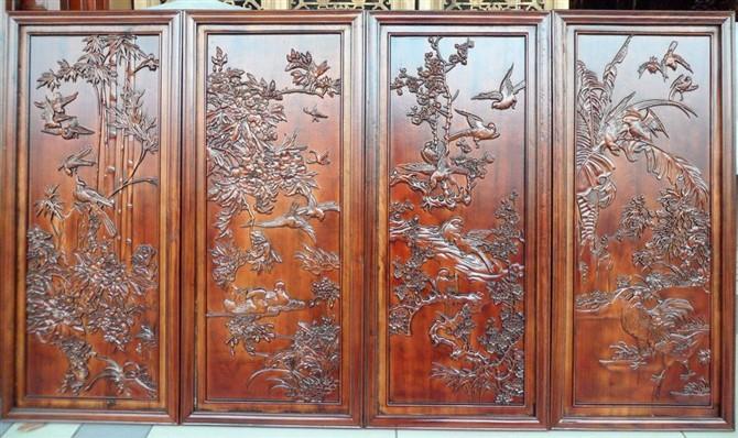 玉萍木雕工艺中式风格客厅卧室装饰画 背景墙挂画客厅