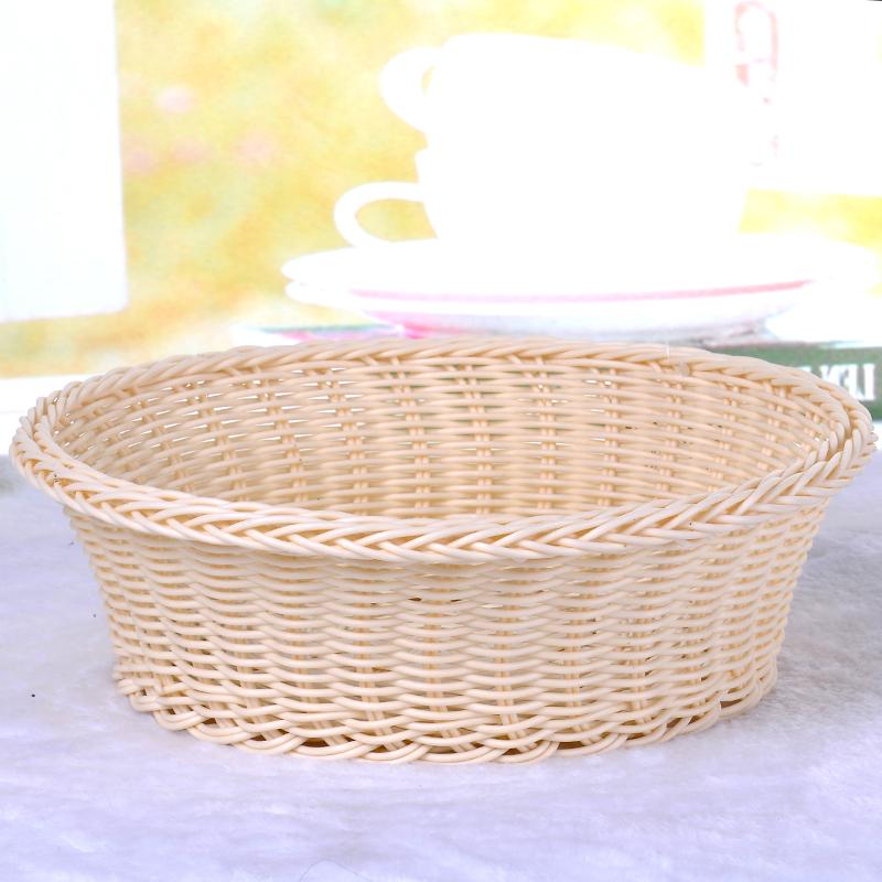 批发手工编织水果篮金属支架塑料编织储物篮子_ 成合