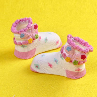 Wholesale socks, children socks cotton socks of flowers giving skid female children socks with flower socks color