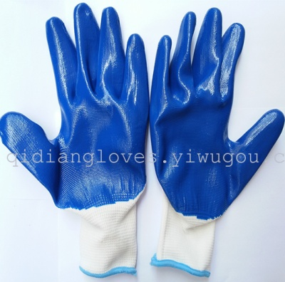 Wholesale gloves 13-pin landingqing grease-proof protective gloves industrial dipped gloves