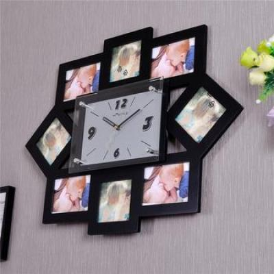 Supply Mute MDF photo frames wall clock creative fashion art wall ...