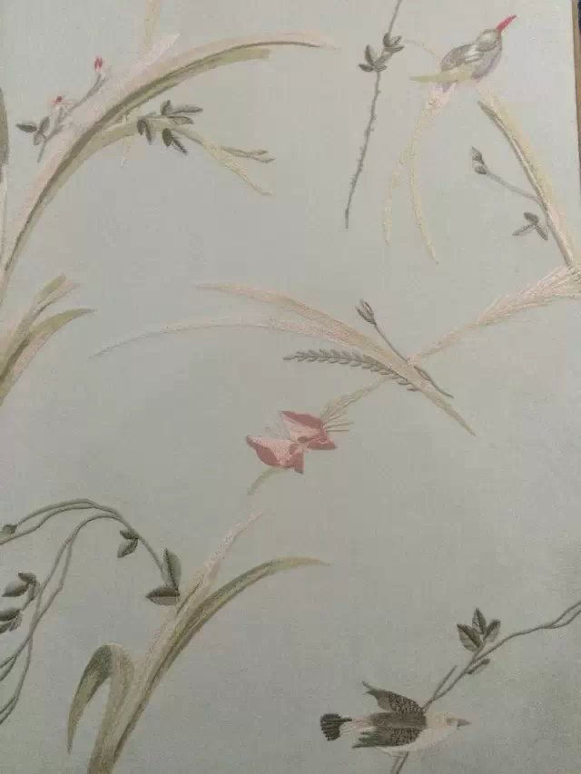 领绣刺绣墙布 美式田园