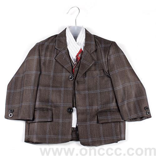 格子图案儿童西服套装