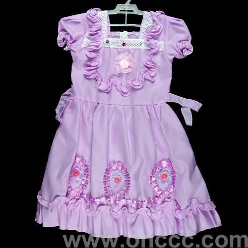 紫色兒童花邊連衣裙
