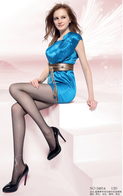 """AOPOOSS"" anklet 24814 slim feather print pantyhose"