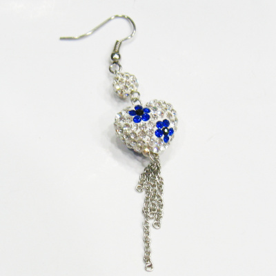 """Retail"" love gifts flower heart earrings long burst incense Ba Lashui diamond jewelry simple fashion 4809"