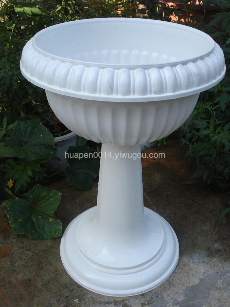 白色高脚罗马盆 塑料花盆 仿罗马大型组合盆 欧式组合