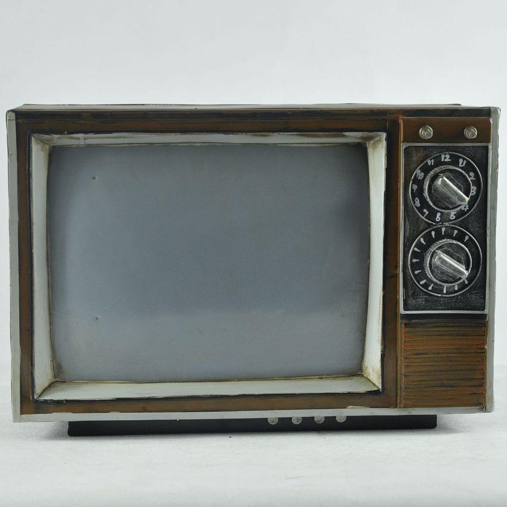 手工做旧 复古铁艺老式黑白电视机模型 cy031