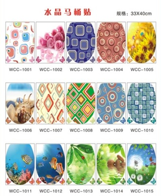 Tiles paste glass crystal toilet stickers