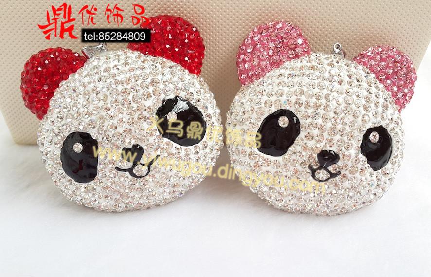 熊猫吊坠 香巴拉水钻手工环保饰品 可爱动物卡通满钻饰品 手链项链