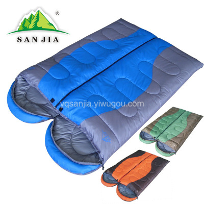 Sanjia outdoor spring and autumn outdoor hooded ultra-light summer sleeping bags to keep warm envelope NAP sleeping bag
