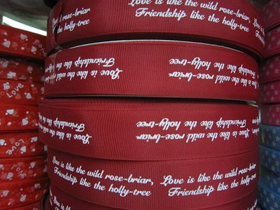 Roman Tam wine red ribbon factory direct printing with white letters do bow samples