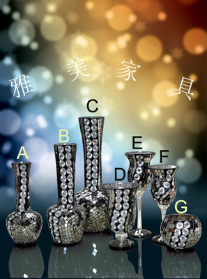 Mosaic glass vase, home decoration