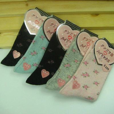 New socks rabbit wool socks rabbit wool socks small broken flowers in the tube warm socks rabbit wool socks wholesale