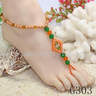 Factory outlets in Europe and America trade fashion handmade beaded turquoise bangles multilevel fringes even-toed foot chain