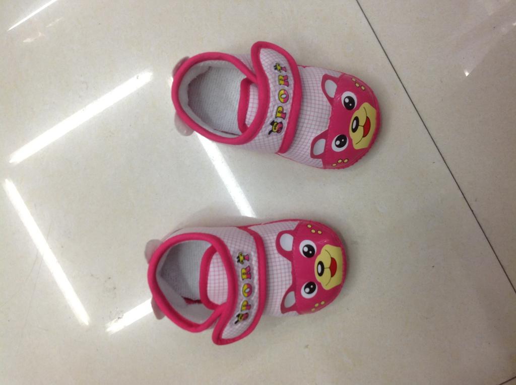 格子图案宝宝鞋 动物粉色款