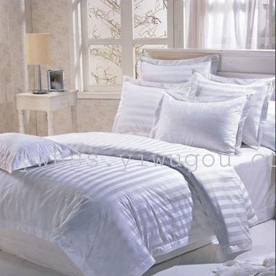Factory direct Hotel 40 60 stripe four piece set hotel bedding