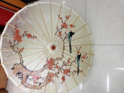 Pure hand-painted blue-and-white patterned blue-and-white porcelain dance umbrella craft umbrella pa