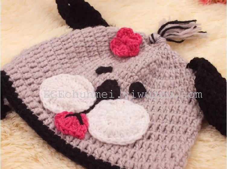 纯手工钩编小狗动物造型儿童/婴儿100%腈纶毛线帽毛线