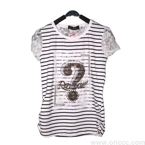 黑白条纹问号女t恤