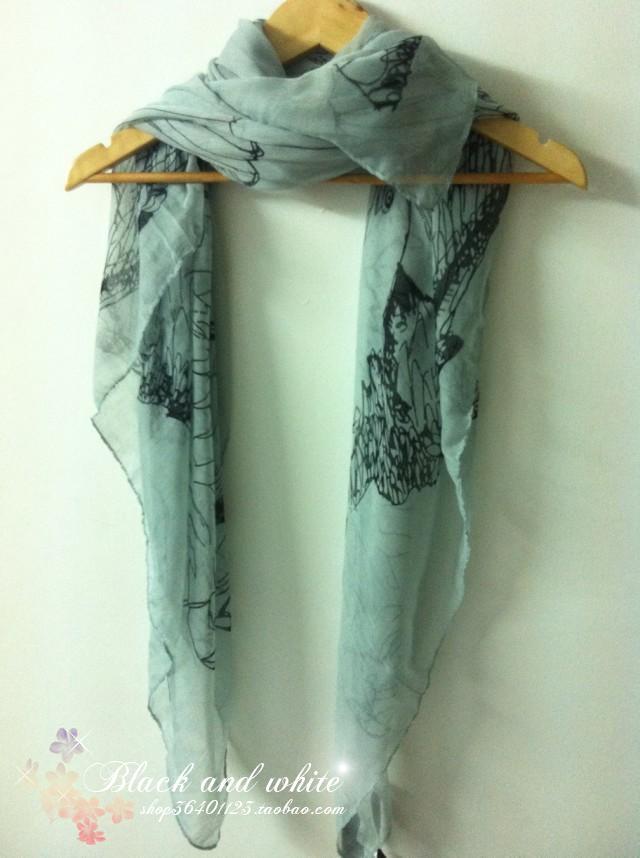 棉麻素描老鹰骷髅头 超长围巾