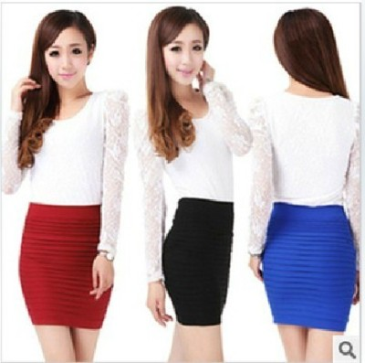 Hip fashion folds thin dress and a pencil skirts high elastic Ms Candy-colored spring blast