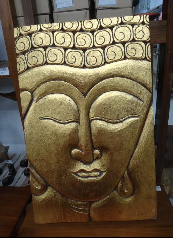 印尼 木雕金色佛首墙壁挂件
