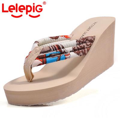 Piggy Lele summer Bohemia  female thick-soled flip-flops and slippers slip of platform sandals