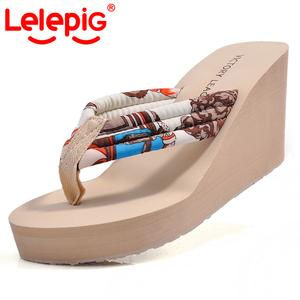 Piggy Lele summer Bohemia  female thick-soled flip-flops and slippers slip of platform sandals