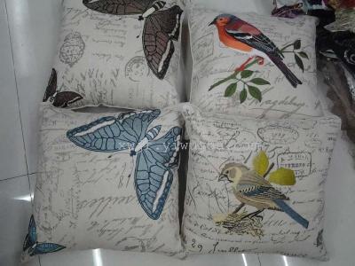 2013 new zhengpin linen printing machine embroidery pattern bird animal flannelette hot silver car cushion pillow manufacturers direct sale.