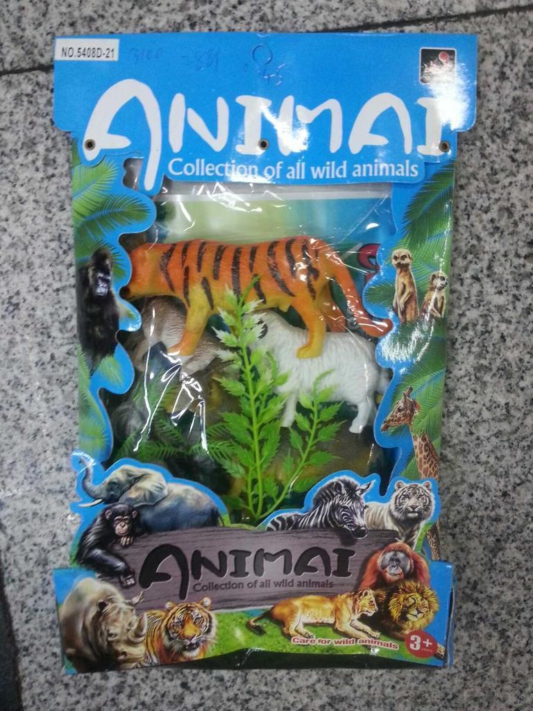 纸盒包装 彩色野生动物 一箱装288包 里面四个动物 两