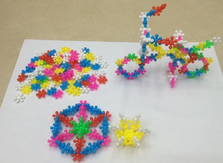 3d雪花积木片,梅花积木,儿童益智拼装玩具
