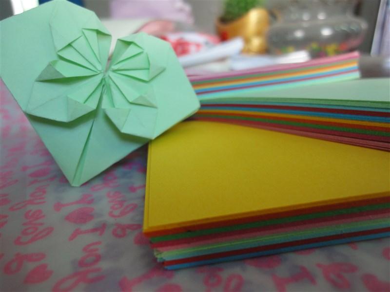 千纸鹤 长方形爱心彩色折纸
