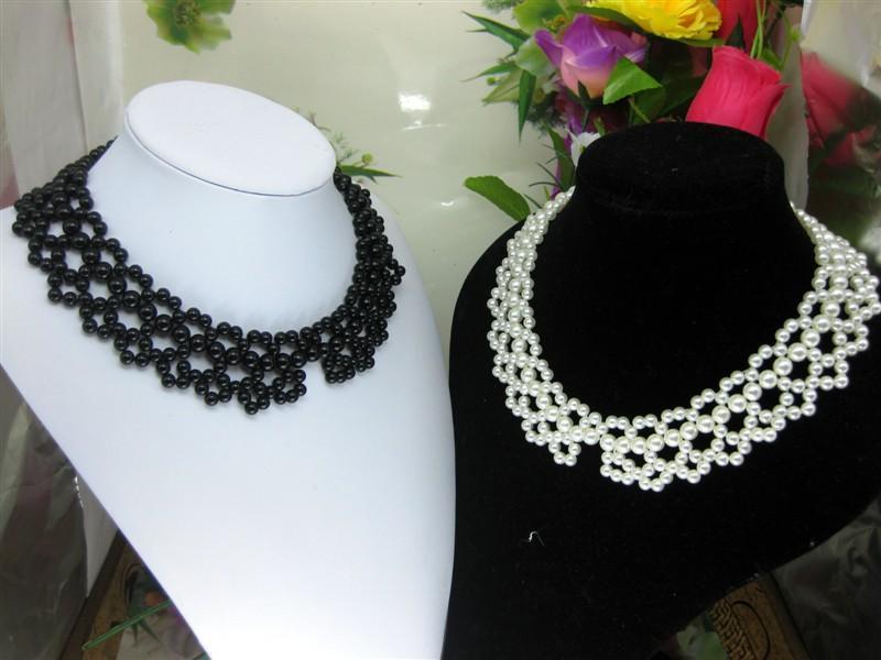 时尚手编珍珠领花 手钩玻璃米珠头饰 手订珍珠头饰