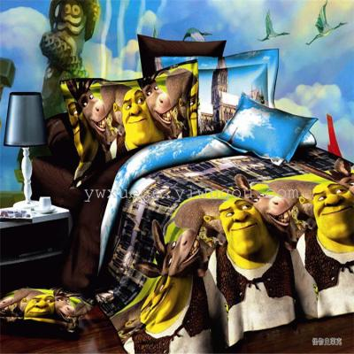 Snow Bird House textiles bedding set of four four-piece cartoon cute 3D polyester---Shrek factory direct