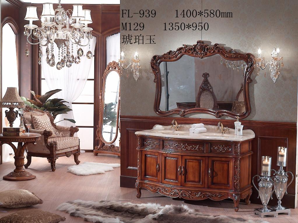 欧式纯手工橡木仿古浴室柜
