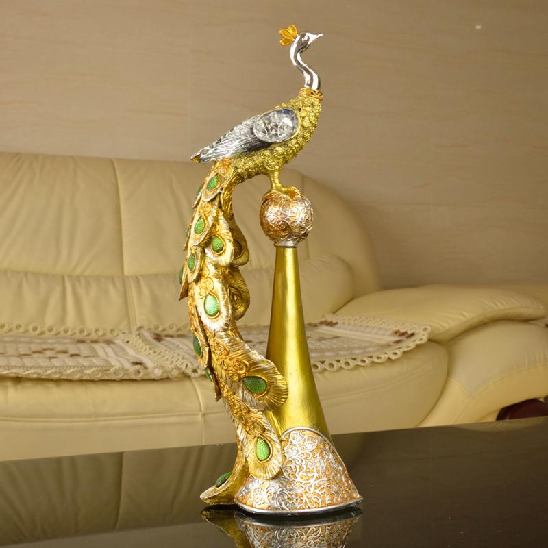 香槟金色踩球彩色孔雀 欧式宫廷风格 新屋装饰品 立柱