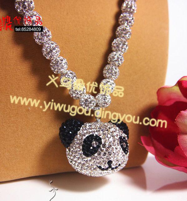 熊猫项链吊坠 毛衣链 韩版可爱动物卡通满钻饰品 香巴拉水钻手工饰品