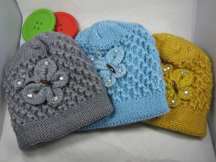 韩版宝宝 毛线儿童 棉线帽子秋冬保暖帽 手工钩织蝴蝶