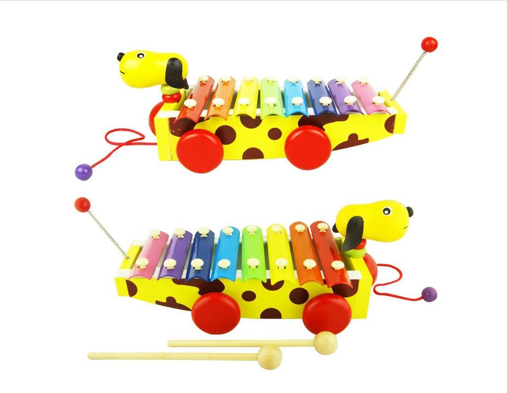 儿童早教音乐教具八8音阶小黄狗手敲琴可拖拉木制益智图片