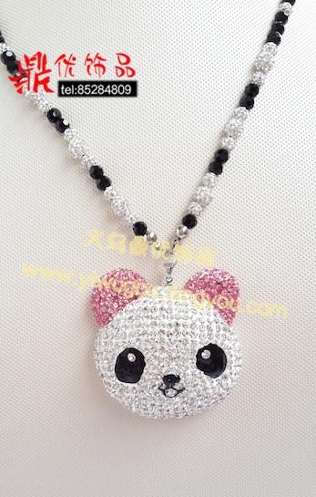 熊猫项链吊坠 香巴拉水钻手工饰品 韩版可爱动物卡通满钻饰品